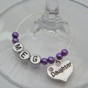 Daughter Personalised Wine Glass Charm